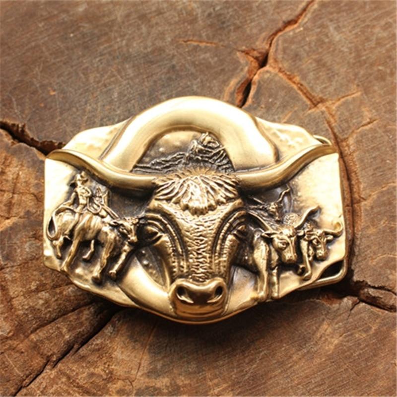 Solid Brass Bull Belt Buckle Men Belt Diy Accessories Brand Designer Belt Buckles Male Strap Belts Luxury Buckles BK0039