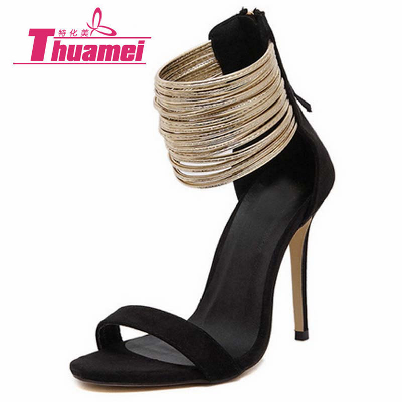 Thuamei sandals thin high heels open toe summer shoes woman