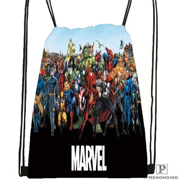 Custom MarvelComics Drawstring Backpack Bag Cute Daypack Kids Satchel (Black Back) 31x40cm#2018612-01-8