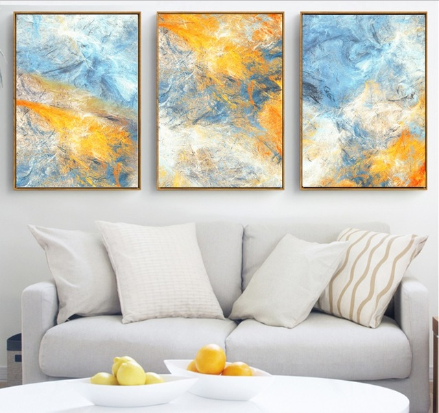 gohipang dream blue and yellow abstract art 3 pcs canvas paintings modular pictures wall art. Black Bedroom Furniture Sets. Home Design Ideas