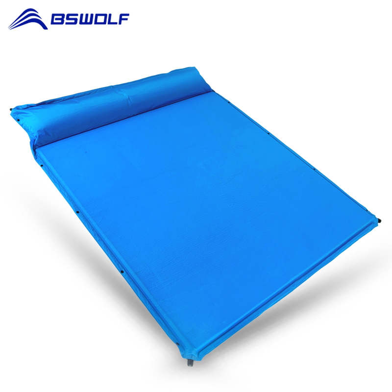 BSWolf Outdoor Inflatable Cushion Sleeping Mattress With Pillow Tent Inflatable Camping Mats Pad Thick 3cm Soft Air Bed