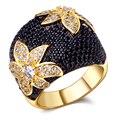 Moda jóias preto e branco anéis de ouro chapeado com cubic zircon dedo anel anéis de alta qualidade para as mulheres transferência gratuita