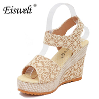 Women Shoes 2016 Summer New Open Toe Fish Head Fashion High Heels Wedge Sandals SJL87