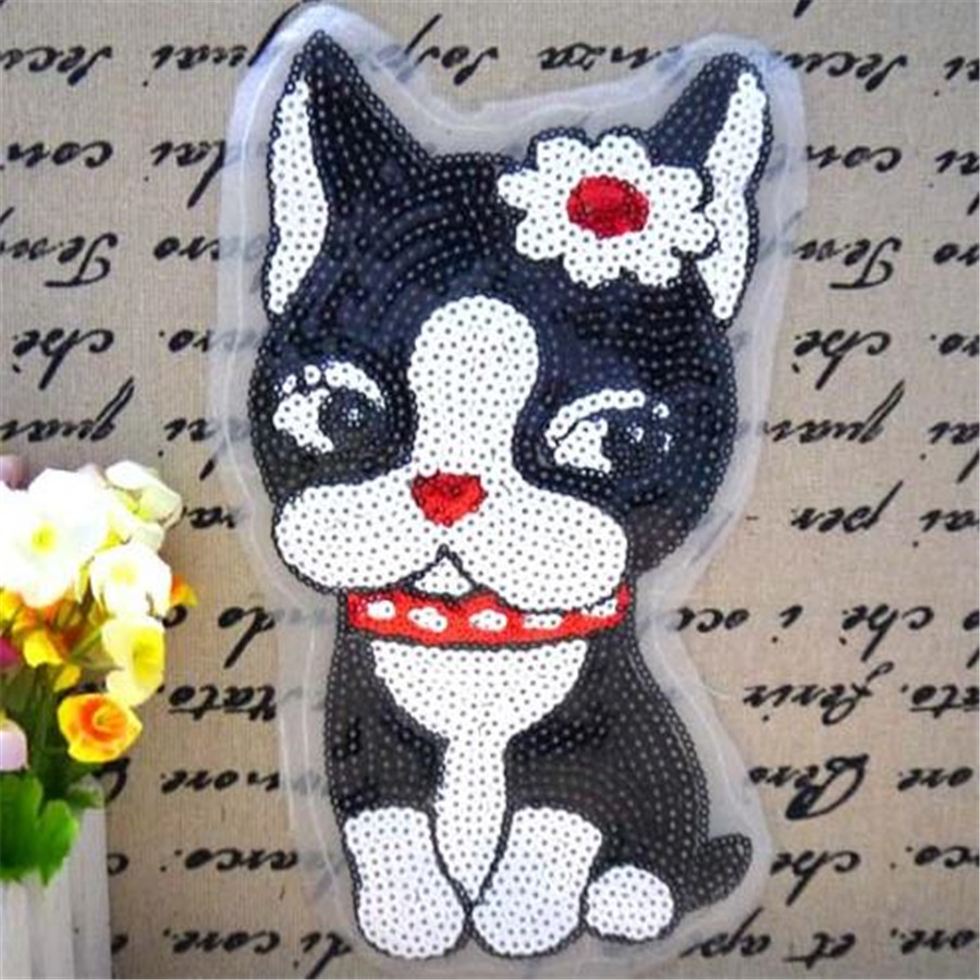 Kids Clothes Sequins Sewing Biker Patches For Boys Clothes & Girls Clothes  Embroidered Patches Black Dog