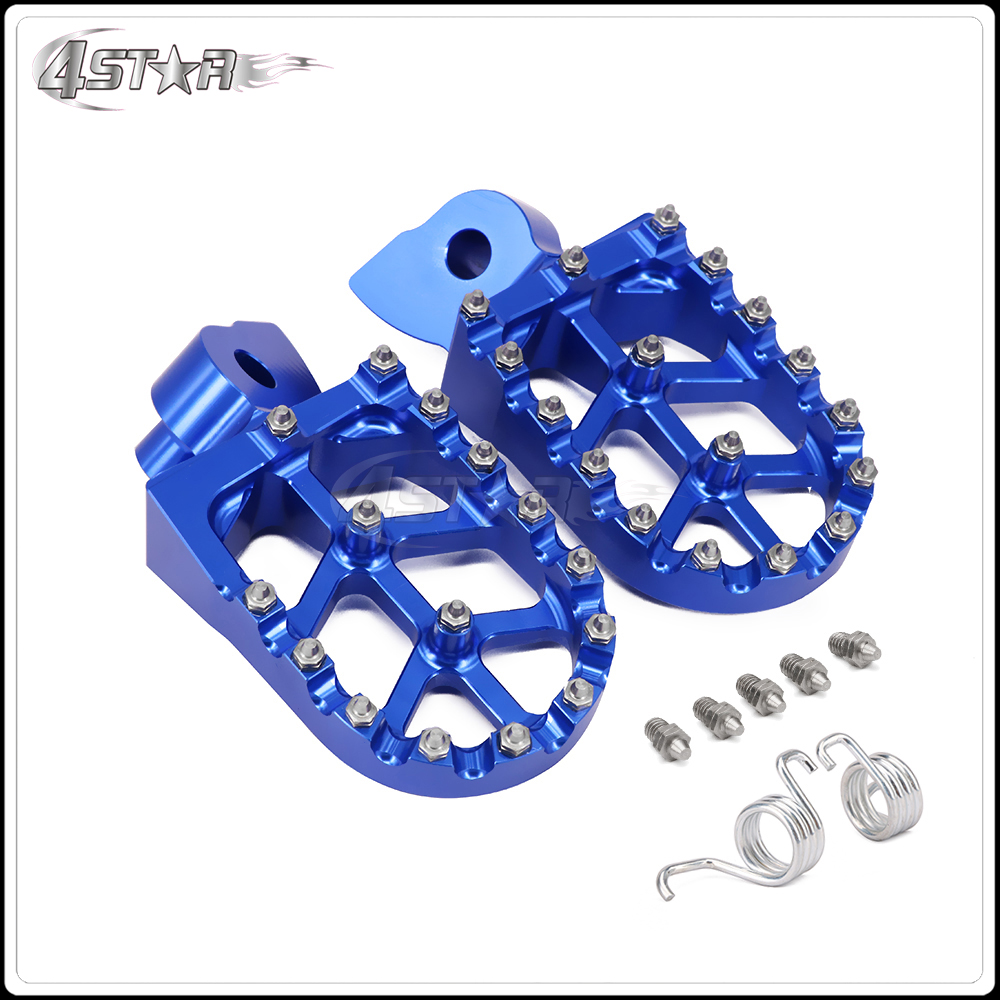 New CNC Blue MX Wide Foot Pegs Pedals Rests For YZ85 YZ125 YZ250 YZ250F YZ450F WR250F WR450F YZ125X YZ250X YZ250FX купить в Москве 2019