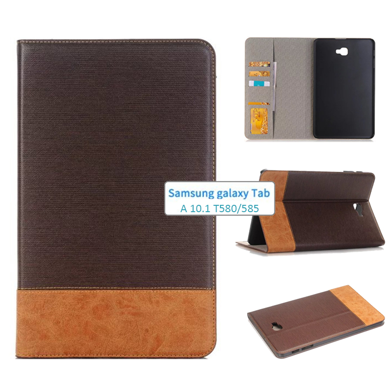 New Tab A A6 10.1 SM T580 T585 T587 Luxury Retro Leather Case Cover - For Samsung Galaxy Tab A 10.1 Tablet multi stand case tab a a6 10 1 sm t580 t585 t587 360 rotating case cover forsamsung galaxy tab a 10 1 2016 tablet multi angel stand cover case