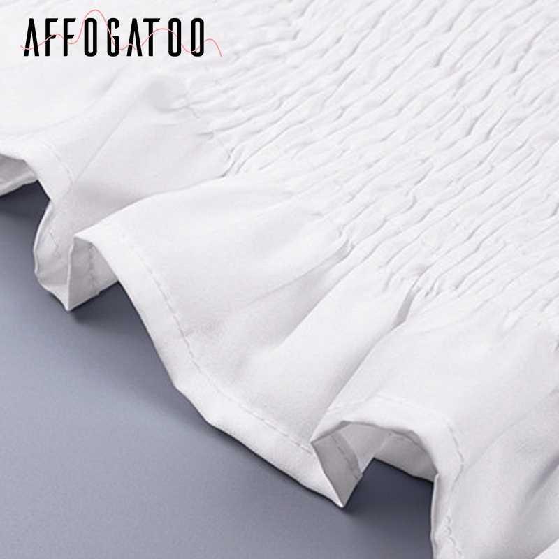 Afogatoo, винтажная белая блузка с квадратным воротником, женская блузка с оборками и длинным рукавом, женская блузка, рубашка, лето 2019, женский укороченный топ с баской