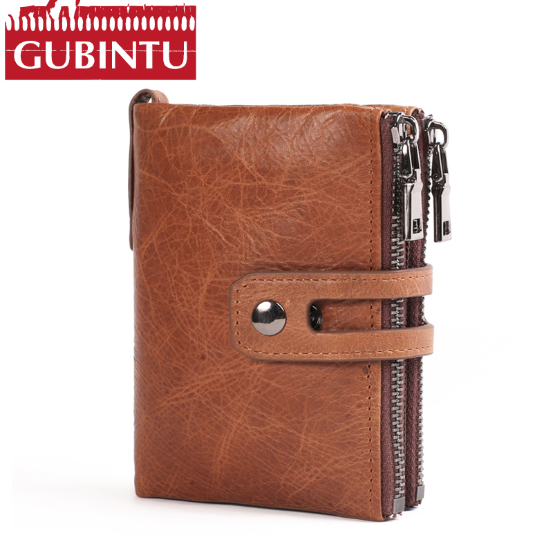 Genuine Leather Men Wallet Small Men Walet Zipper&Hasp Male Portomonee Short Coin Purse Brand Perse Carteira For Rfid coin purse