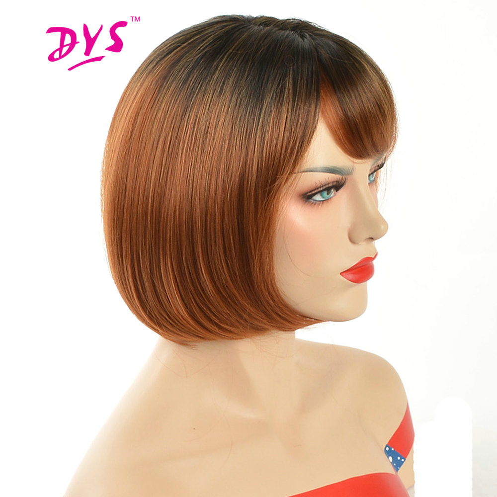 Deyngs Pixie Cut Ombre Red Bob Wigs For Black Women Short Straight Natural Synthetic Hair Wig With Bangs High Temperature Fiber