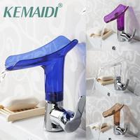 KEMAIDI Basin Faucets New Design Wholesale And Retail Deck Mount Waterfall Bathroom Faucet Vanity Vessel Sinks Mixer Tap