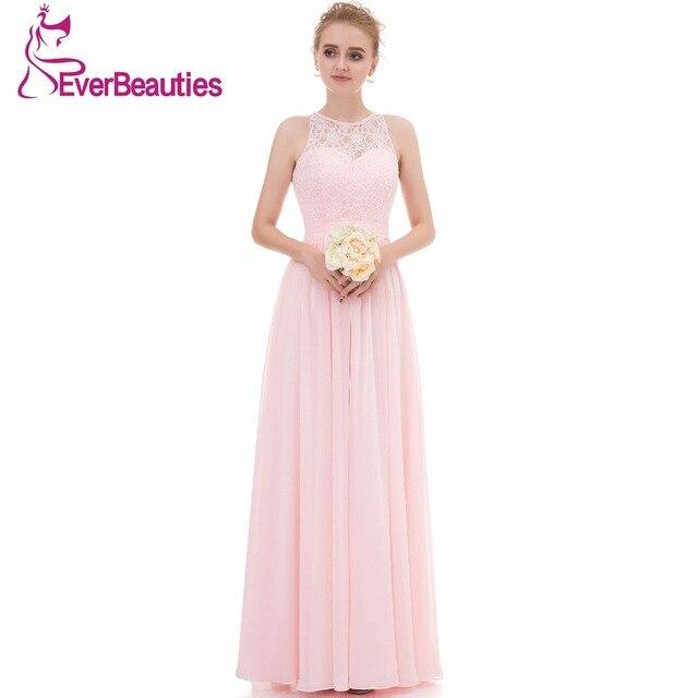 Light Pink Bridesmaid Dresses Long 2019 Chiffon lace High Neck Wedding  Party Guest Dresses 5993d91283dc