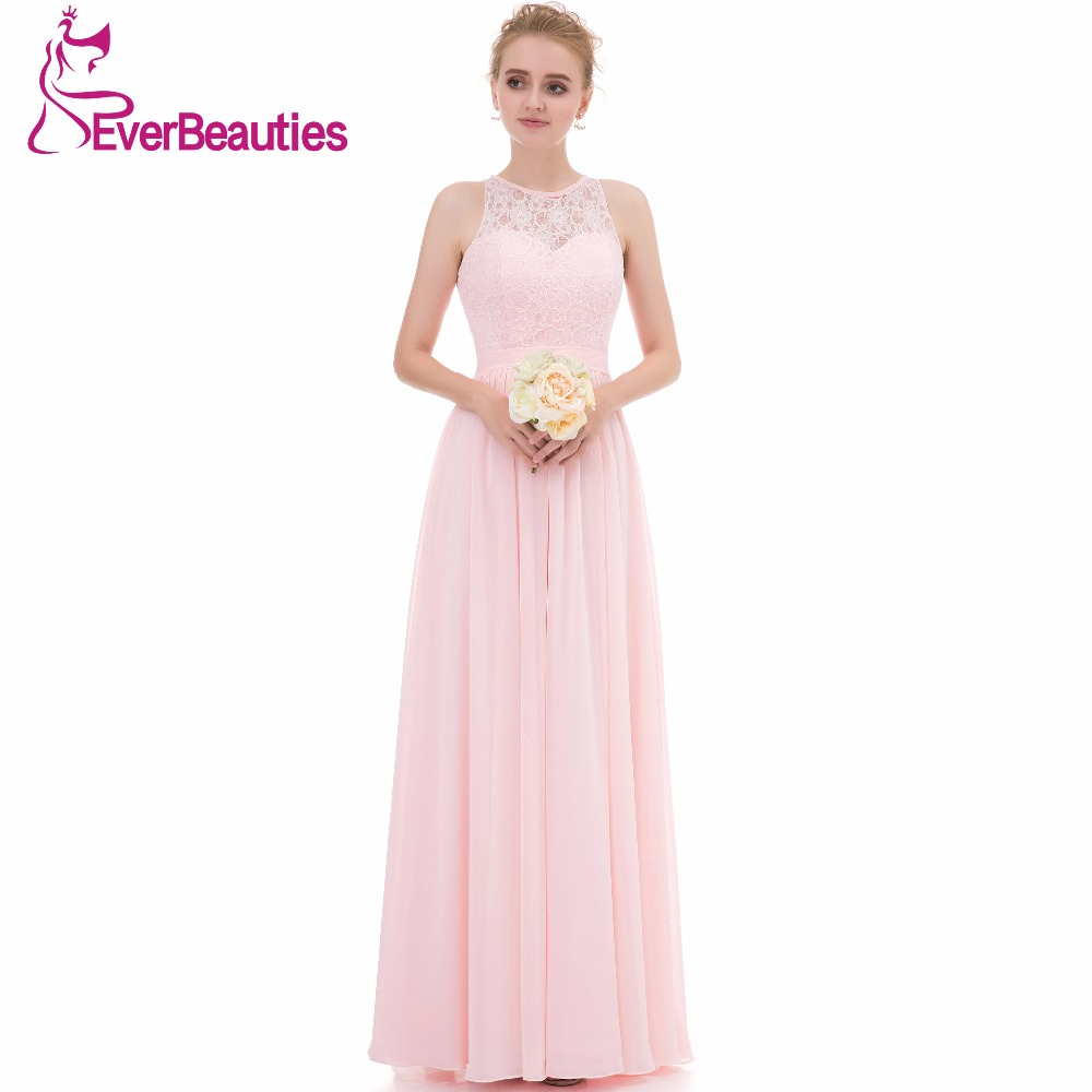 Light Pink Bridesmaid Dresses Long 2017 Chiffon Lace High