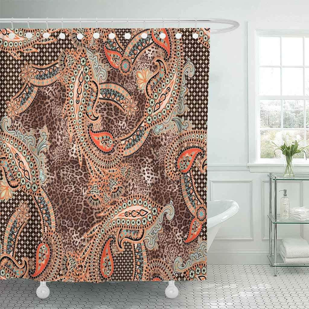Shower Curtain Colorful Vintage Indian Traditional Paisley ...