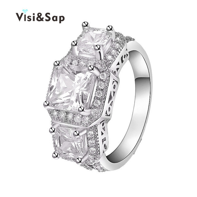 Visisap 3 stone Ring Princess cut White Gold color fashion Jewelry
