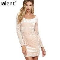 Vlent Robe Sexy Pink Velvet Spring Dress 2017 Vintage Ladies Long Sleeve Winter Dresses Pull Femme