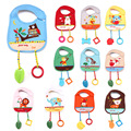 Baby Bibs with Teether Toy Cartoon Animal Style Waterproof New Pouch Series Burp Cloths Saliva Towel 1PC