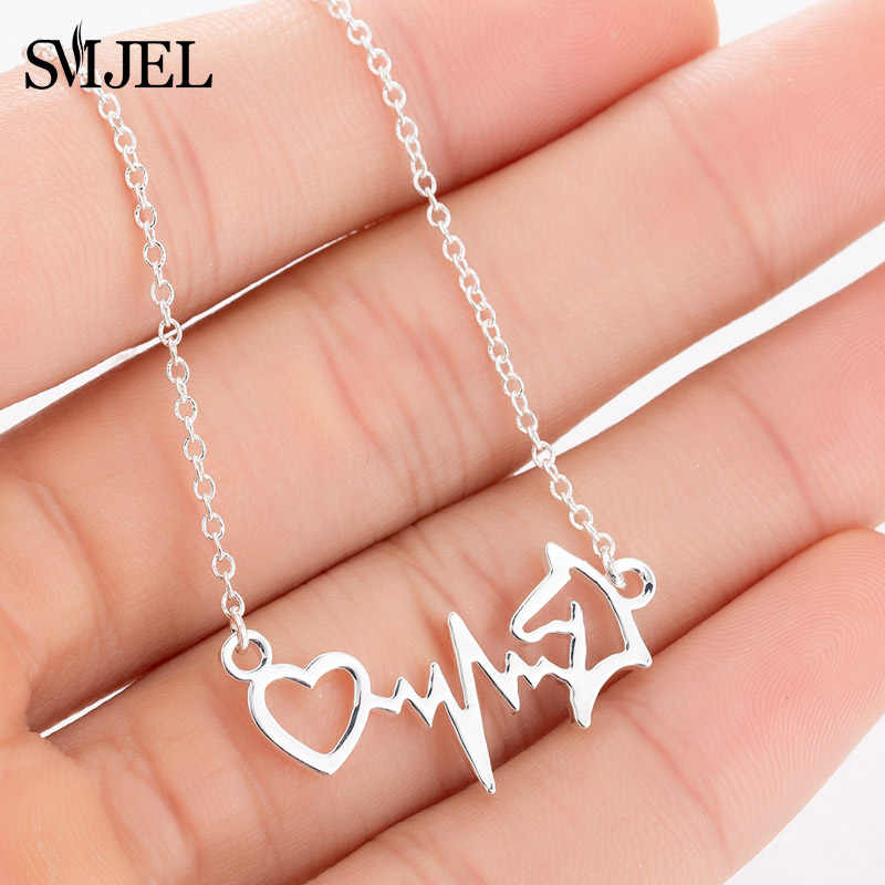SMJEL Electrocardiogram ECG Horse Pendants Necklaces Choker Collars Women Vintage Horseshoe Animal Wedding Jewelry