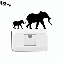 Mother And Baby Elephant Switch Sticker - Safari Wall Stickers - Baby Elephant Nursery Wall Decal Home Decor