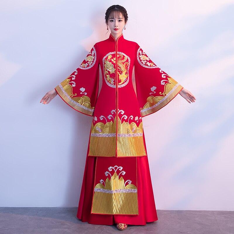 Новинка Феникс Для женщин красный Cheongsam с вышитыми цветами Qipao Китайский Стиль невесты платье Классические женские брак костюм одежда S XL
