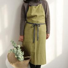 Full Length Cotton Linen Apron Barista Cafe Waitress Bar Bakery Catering Uniform Painter Florist Gardener Workwear