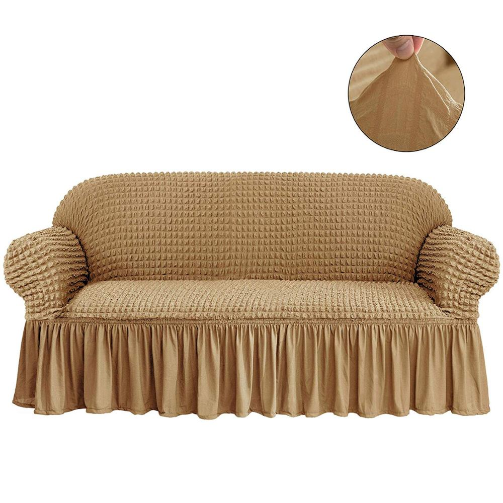 Elastic Sofa Cover with 3D Plaid and Elegant Skirt Slipcover for Universal Sofa of Home Hotel and Office