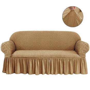 Nowa elastyczna narzuta na sofę 3D Plaid Slipcover uniwersalne pokrowce na meble z elegancka spódnica do salonu fotel kanapa Sofa tanie i dobre opinie Friswiz Plain Dyed 95 Polyester and 5 Spandex New Classical Post-modern SC70300SE Sofa Cover S M L XL 3D Popcorn Trzy-seat sofa