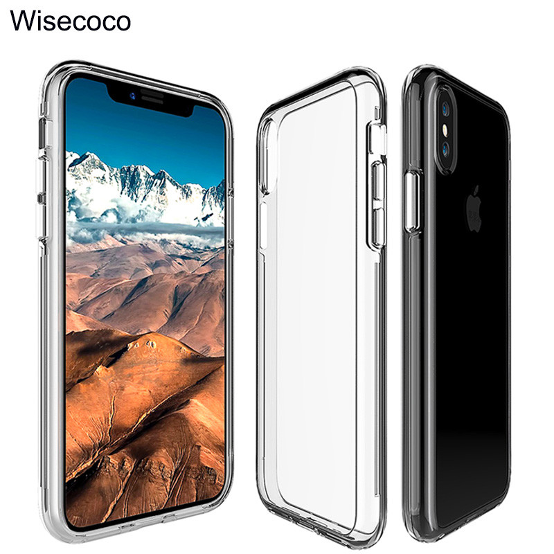 Luxury Clear Hybrid Phone Case For iphone x 10 Tpu+Pc Transparent Armor Shockproof Thin Hard Back Cover For iphone 8 7 6 6s plus