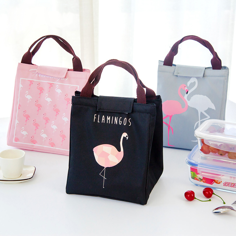 Flamingos Thermal Insulated Lunch Tote Bag Food Storage Fresh Keep Cooler Bags Portable Waterproof Kitchen Organizer Handbag