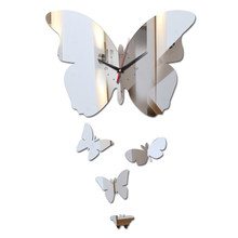 New fashion mirror acrylic material wall stickers diy wall clocks house decoration wall watch Quartz watches(China)