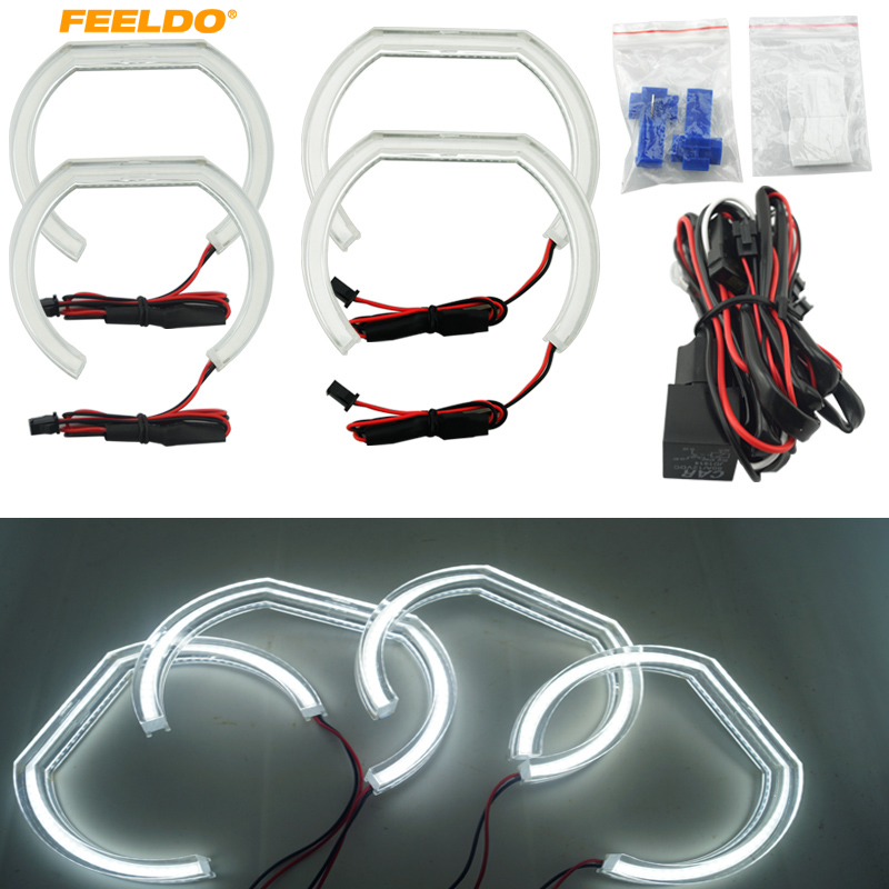 FEELDO 4pcs/set White Car Crystal LED Angel Eyes LED DRL SMD Halo Ring Kits For BMW F30 F35 3 Series (2012-2014) #FD-2239 4pcs set car 6 color optional headlight ccfl angel eyes halo rings kits for lada vaz 2109 fd 1274