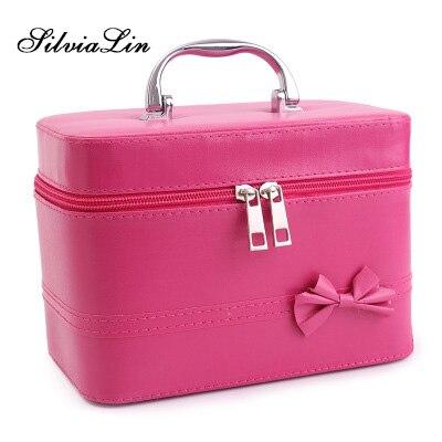 все цены на Fashion Women Cosmetic Bag Travel Makeup Make Up Organizer Box Beauty Bow Large Capacity Women Sorage Wash Bags