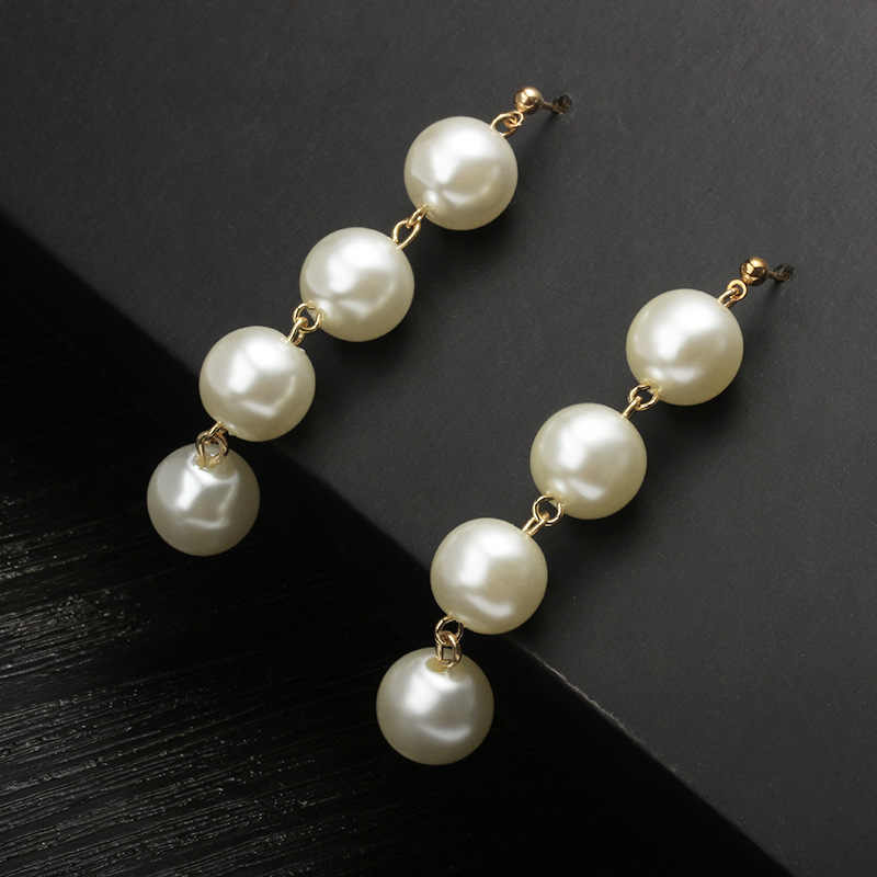 Simple temperament beaded earrings Exaggerated large pearl tassels long drop earrings drop shipping