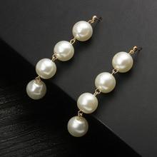 Simple temperament beaded earrings Exaggerated large pearl tassels long drop shipping