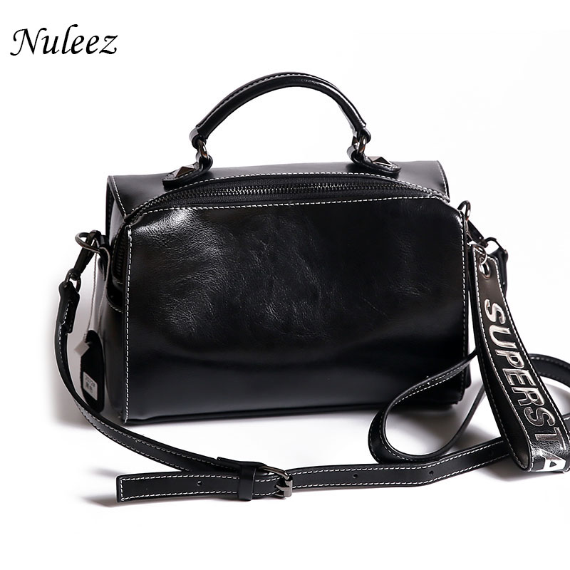 Nuleez oil waxy genuine leather women handbag with a new broadband decoration fashion large capacity 2019