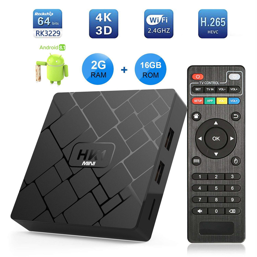 Android 8.1/Android 9.0 TV Box HK1 Mini 2GB + 16GB RK3229 quad-core WIFI 2.4G 4K 3D HK1mini Google Netflix décodeur