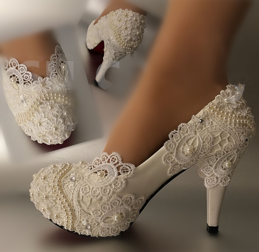 ФОТО Women Pumps Lace Wedding Shoes Round Toe High Heels Shoes Large size 41-42