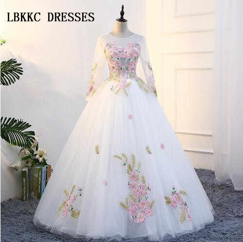 60acc9b119 Cheap Quinceanera Gowns White Long Sleeves Quinceanera Dresses Tulle With  Pink Embroidery Lace Elegant Ball Gown