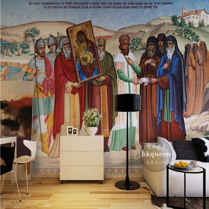 Free shipping European Retro Religious Oil Painting TV backdrop wallpaper 3D stereo gallery church mural hotel Restaurant mural free shipping 3d stereo entrance hallway custom wallpaper vertical version european oil painting wallpaper mural