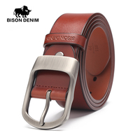 BISON DENIM New Belts Pin Buckle Vintage Belt Men Belt Leather Genuine Luxury BELT MAN Mens