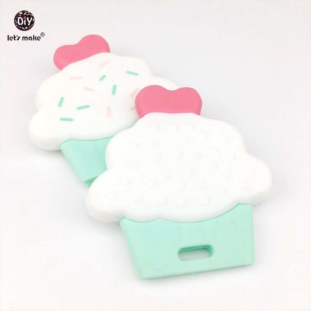 Let's Make 5pcs Baby Teether Silicone Cup Cake Cute Diy Accessories Nursing Teething Toys BPA Free Food Grade Silicone Teether