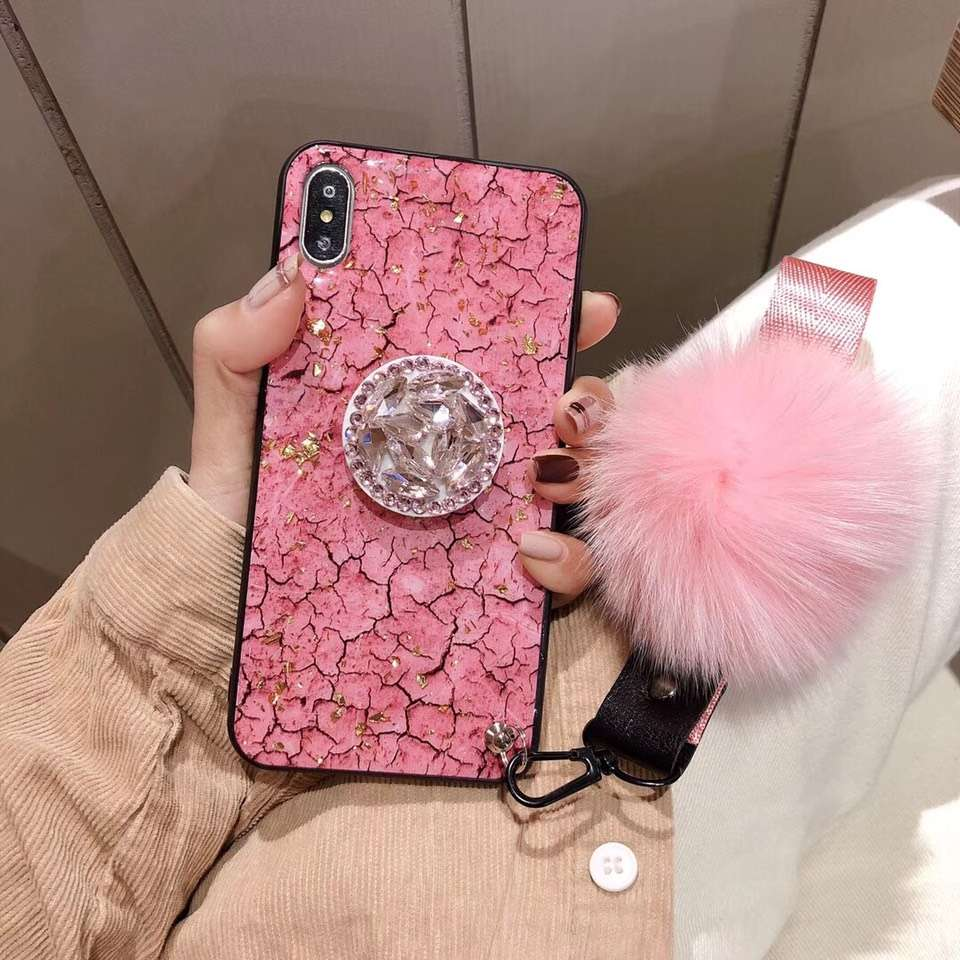 Luxury DIY crystal Holder Fur Ball Strap Phone case For iPhone 6 6s 8 7 Plus
