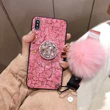 Luxury DIY crystal Holder+ Fur Ball +Strap Phone case For iPhone 6 6s 8 7 Plus X XS MAX XR silicon TPU Bling Capa Funds Coque(China)