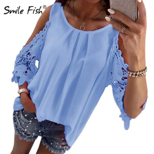 4f8d4bf5ecf63 Summer Chiffon Women Blouses 2018 Casual Sexy Sun-top Half Sleeve Lace  Patchwork Shirts Off Shoulder Tops Solid Plus Size GV381