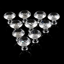ship from us 10pcs 30mm diamond plated shape crystal glass knob cupboard drawer pull handle new kitchen door knob accessories free shipping