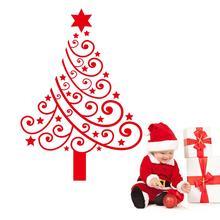 купить Merry Christmas vinyl tree Wall Stickers removable Christmas Decal home decoration Removable decals xmas24 new year gift по цене 246.85 рублей