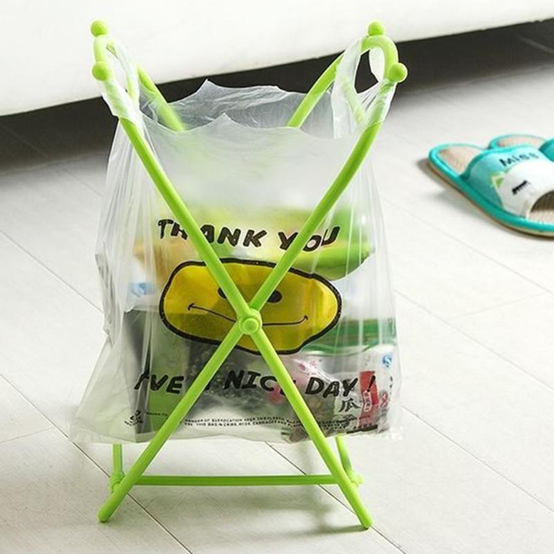 New Kitchen Folding X-type Plastic Garbage Bag Rack Portable Trash Can Eco-friendly Bags Holder Home Room Storage Rack