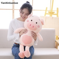 cute cartoon pig plush toy large 80cm cotton pig soft doll throw pillow birthday gift h0710