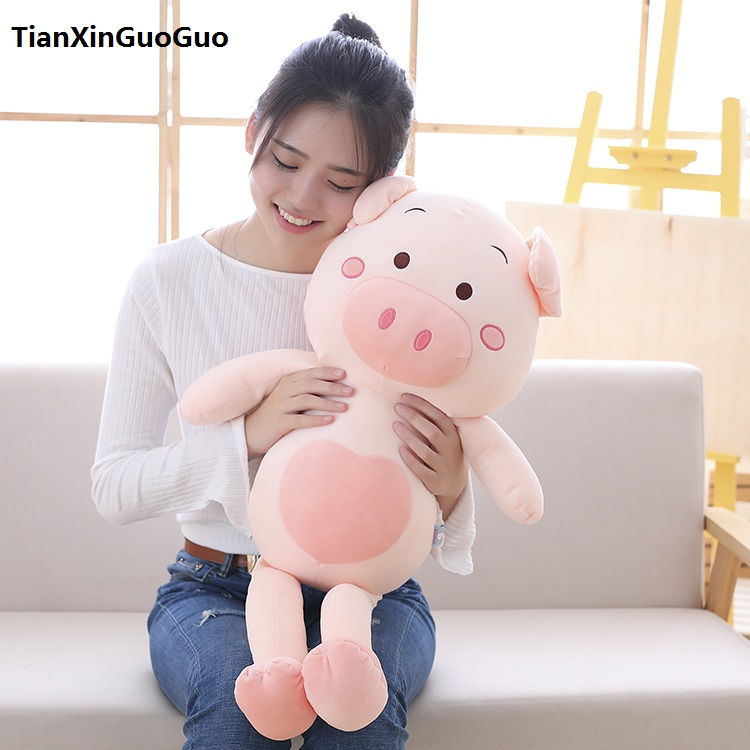 cute cartoon pig plush toy large 80cm cotton pig soft doll throw pillow birthday gift h0710 stuffed animal 120 cm cute love rabbit plush toy pink or purple floral love rabbit soft doll gift w2226