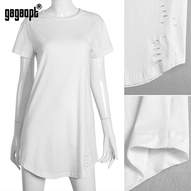 Gagaopt 2017 Summer Dress Women Short Sleeve O-neck Mini Vestidos Elegant Solid Casual Hollow Sexy Robe Vintage Dresses D1990X