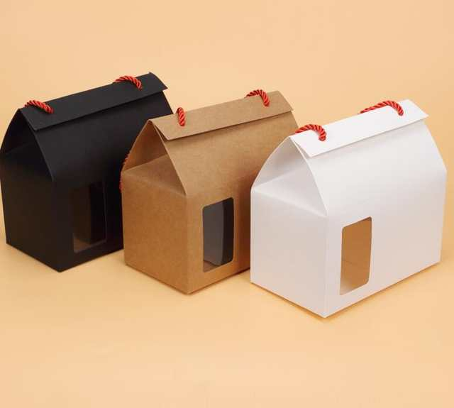 10pcs Black / White /Kraft Candy Fruit Packing Paper Box With Handle Stand  Up Gift Craft Package cardboard Box with pvc Window